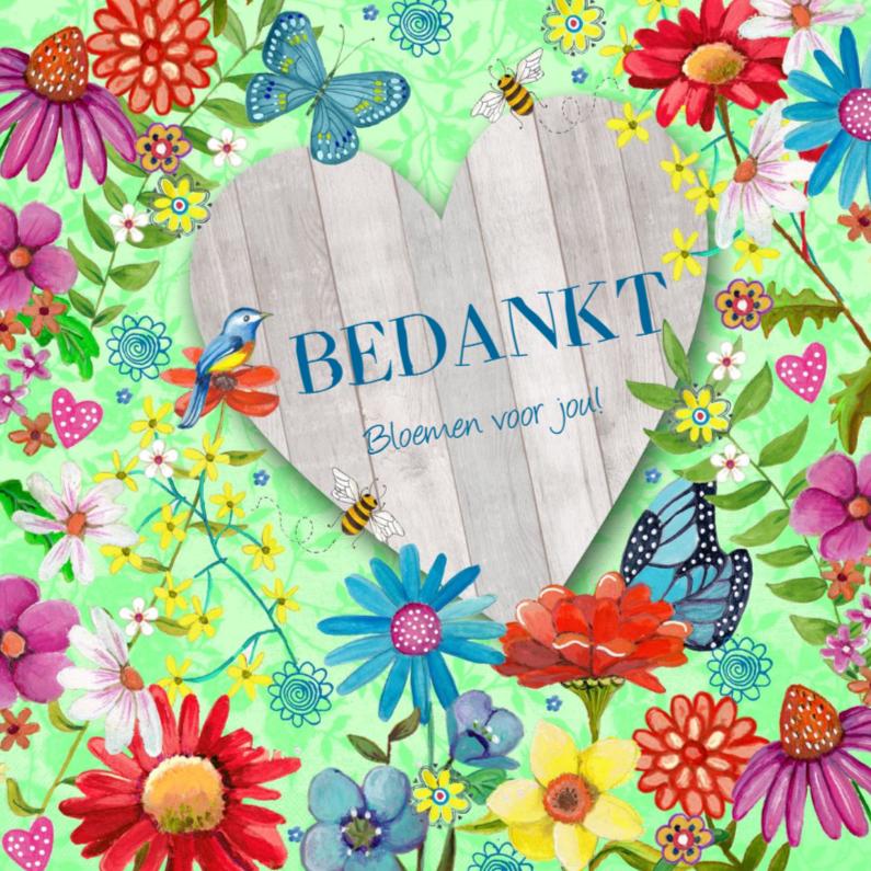 Bedankkaartjes - Bedankt Bloemen HART HOUT vlinders