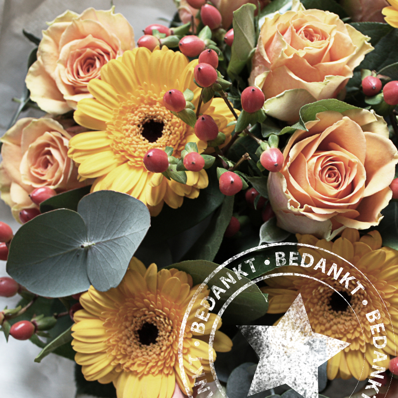 Bedankkaartjes - bedankt bloemen kaart