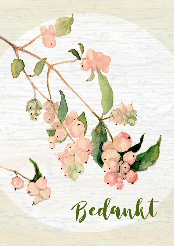 Bedankkaartjes - Bedankt - geschilderd plantje