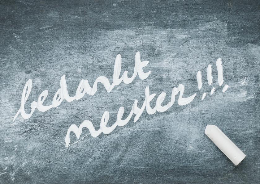 Bedankkaartjes - Bedankt meester - op schoolbord