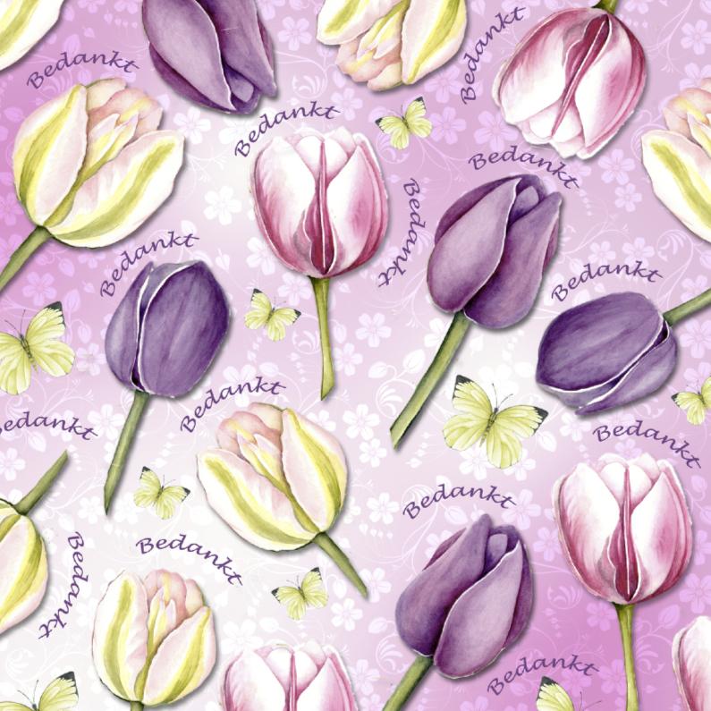 Bedankkaartjes - Bedankt met tulpen en vlinders