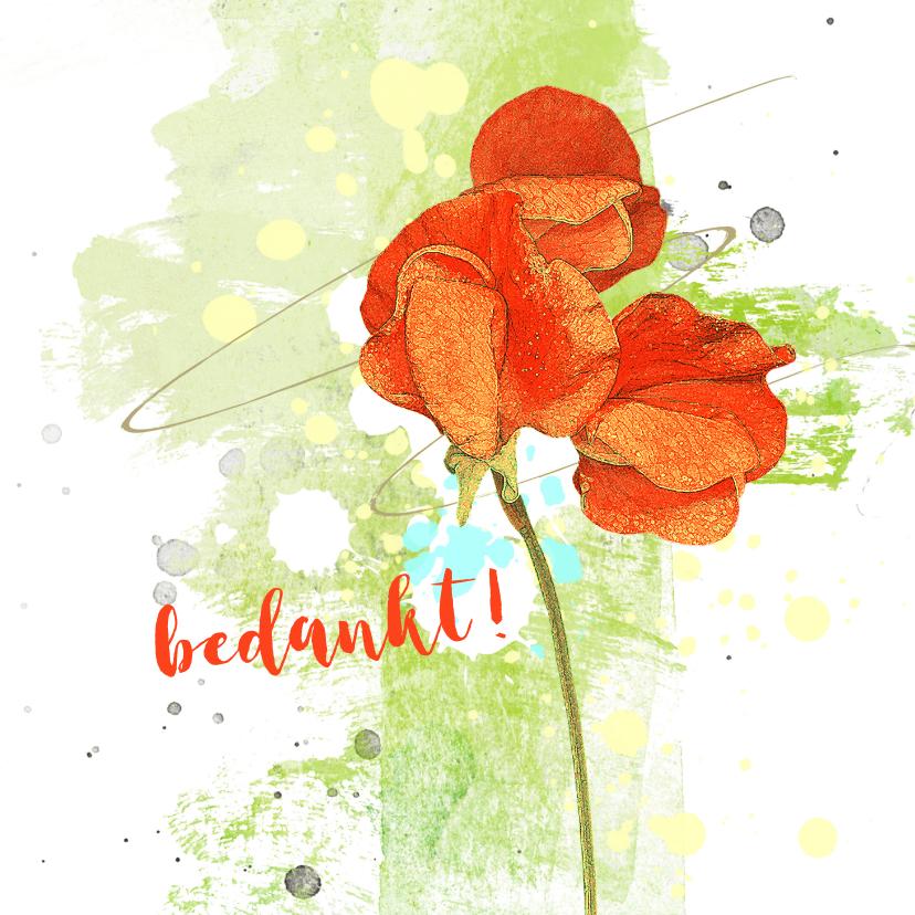 Bedankkaartjes - Bedankt oranje bloem
