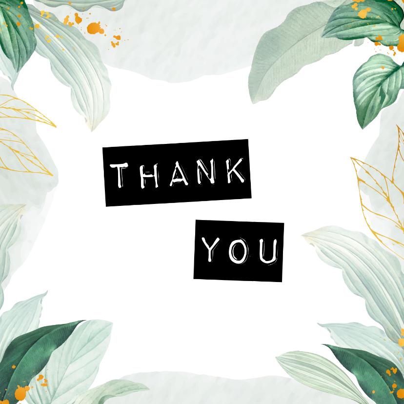 Bedankkaartjes - Botanische kaart 'Thank you'