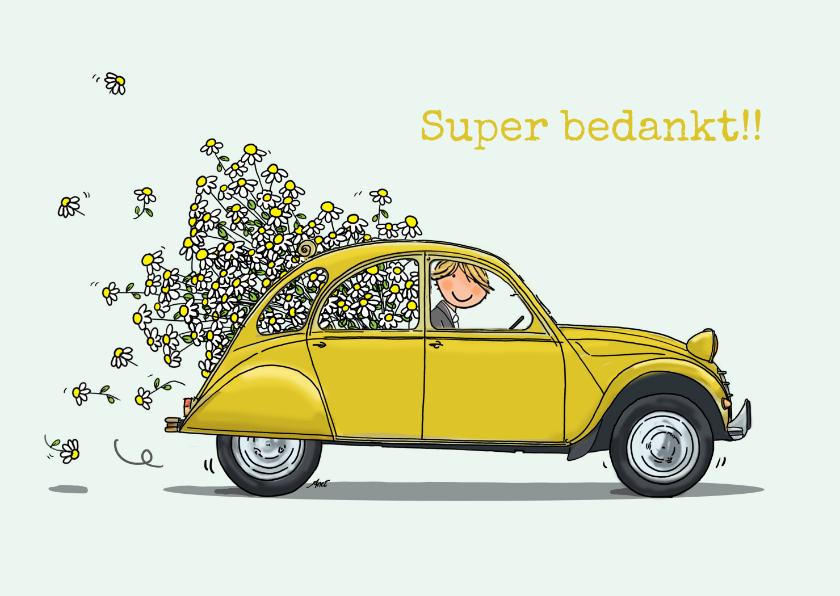 Bedankkaartjes - Citroen eend geel met bloemen