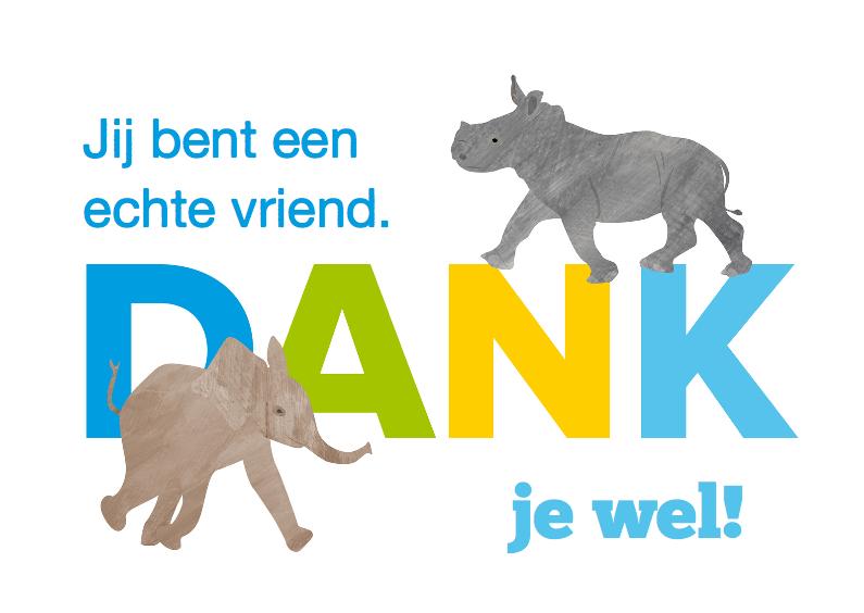 Bedankkaartjes - Dank met olifant en neushoorn