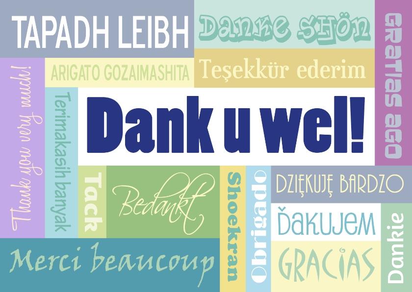 Bedankkaartjes - Dank u wel meertalig