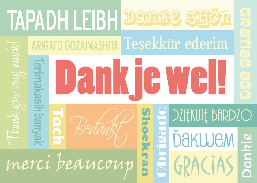 Bedankkaartjes - Dankjewel in verschillende talen