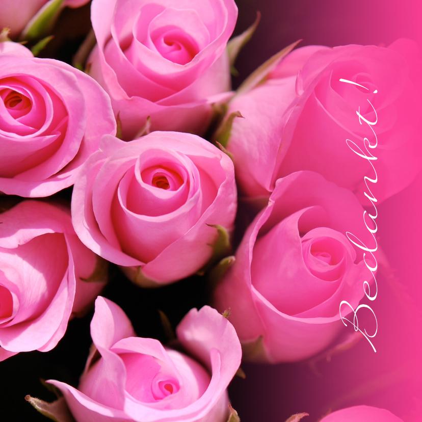 Bedankkaartjes - Fotokaart bedankkaart roze