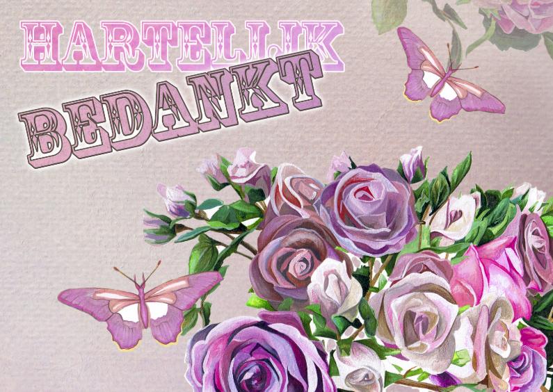 Bedankkaartjes - Hartelijk Bedankt Met Vlinders en Rozen