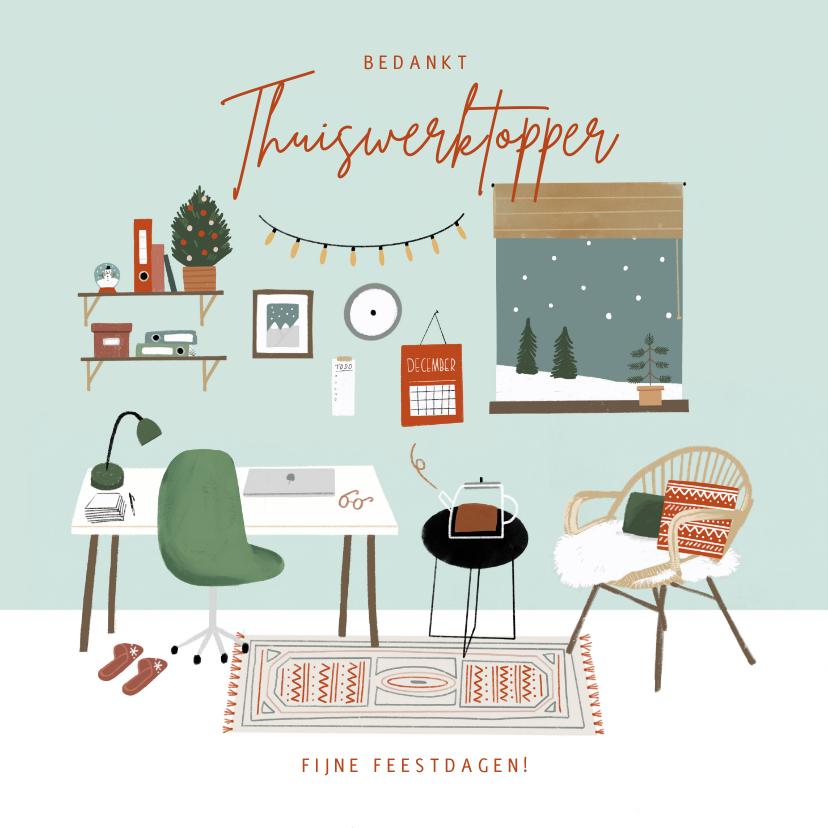 Bedankkaartjes - Hippe bedankkaart thuiswerktopper in kerstsfeer illustratie
