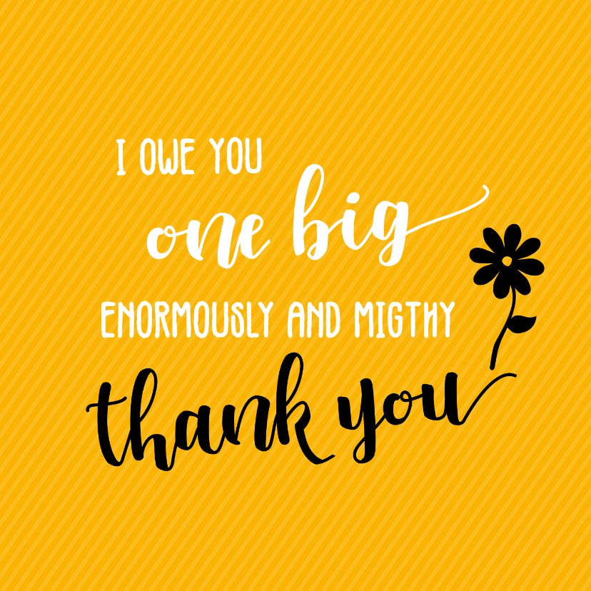 Bedankkaartjes - I owe you one big thank you - bedankkaart