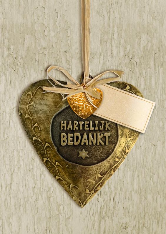 Bedankkaartjes - Leuke bedankkaart koper hart op houtprint