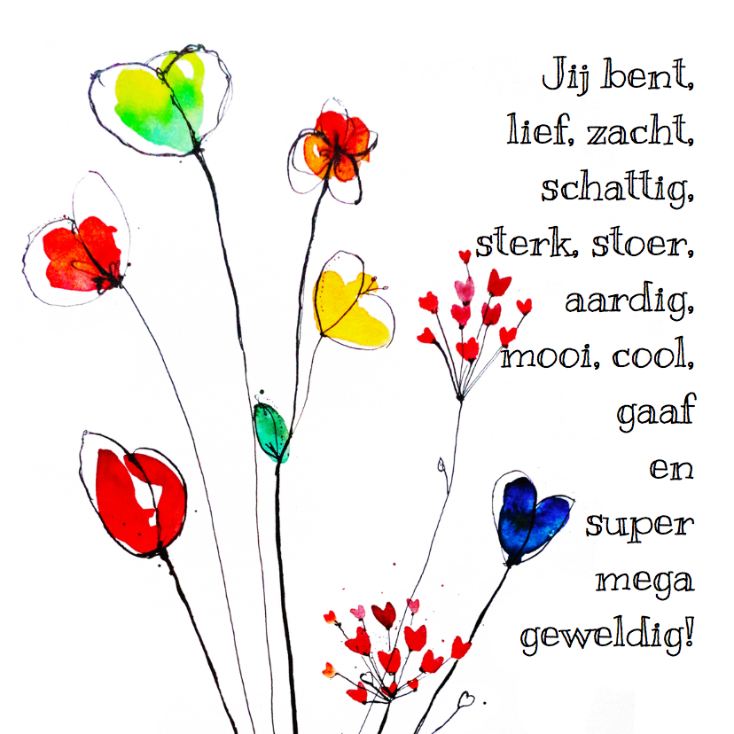 Bedankkaartjes - Lieve kaart met bloemen