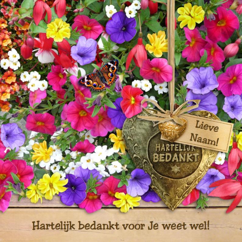 Bedankkaartjes - Mooie bedankkaart koperkleurig hart tussen kleurige bloemen
