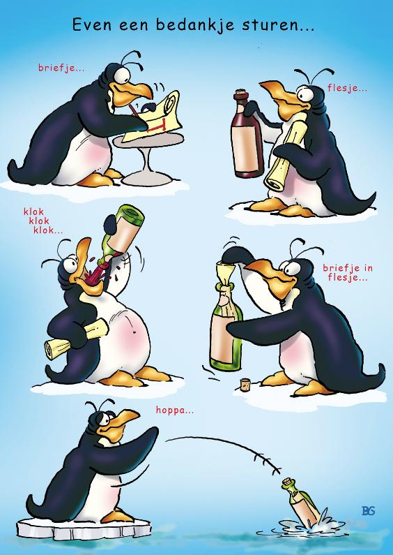 Bedankkaartjes - Pinguin bedankt 1 met fles