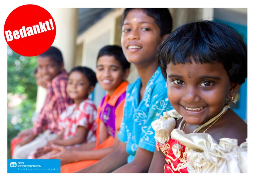 Bedankkaartjes - SOS kinderdorpen bedankkaart