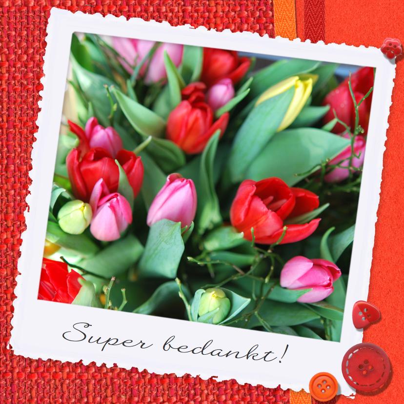 Bedankkaartjes - Stof en bloemen rood