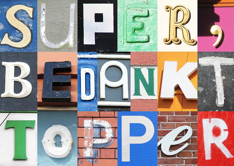 Bedankkaartjes - Super bedankt topper