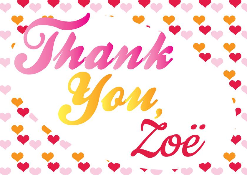Bedankkaartjes - Thank you, eigen naam vrouw