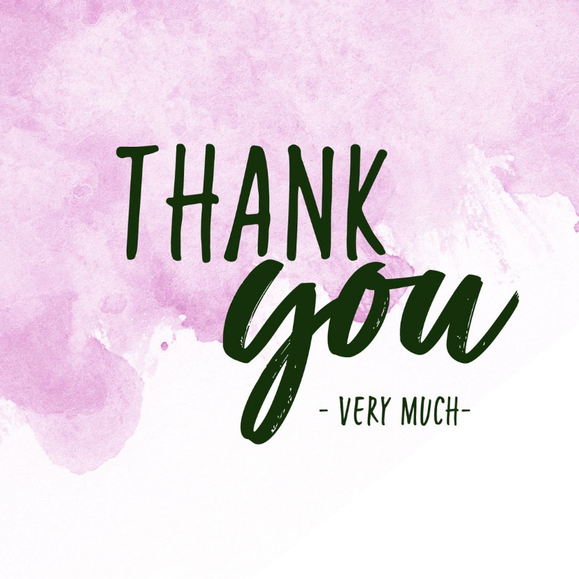 Bedankkaartjes - Thank you - modern met waterverf