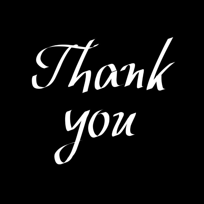 Bedankkaartjes - Thank you, zwarte kaart