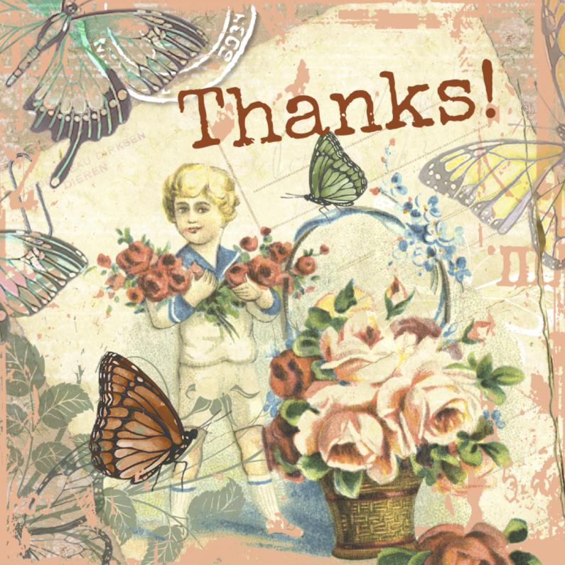 Bedankkaartjes - Thanks vintage jongen