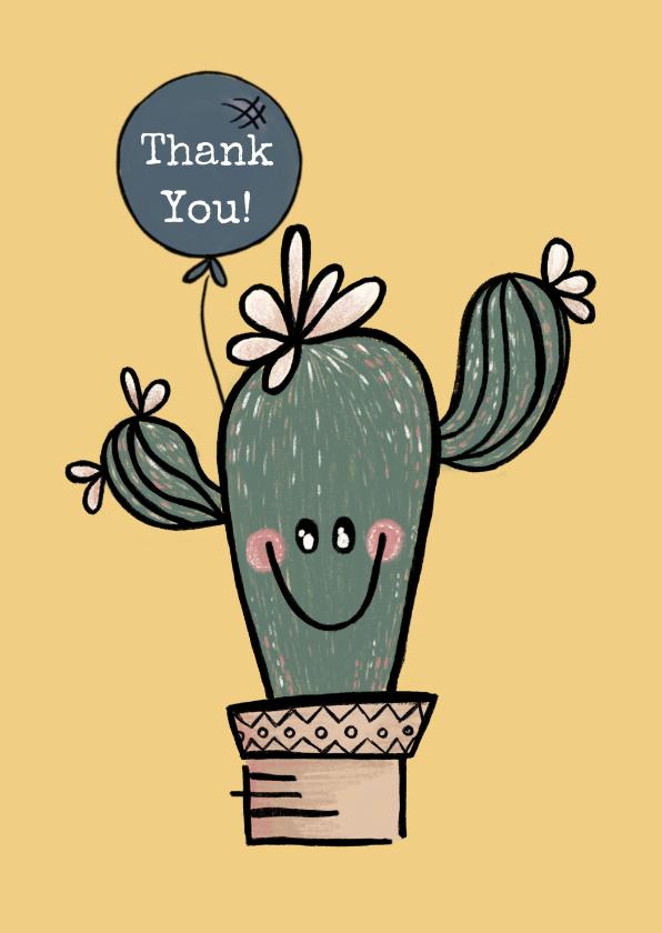 Bedankkaartjes - Vrolijke bedankkaart met cactus in pot en lichtblauwe ballon