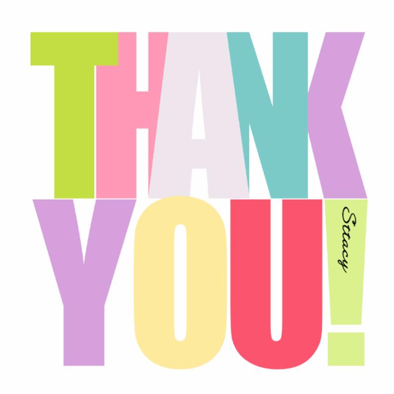 Bedankkaartjes - Woorden Thank you! - BK