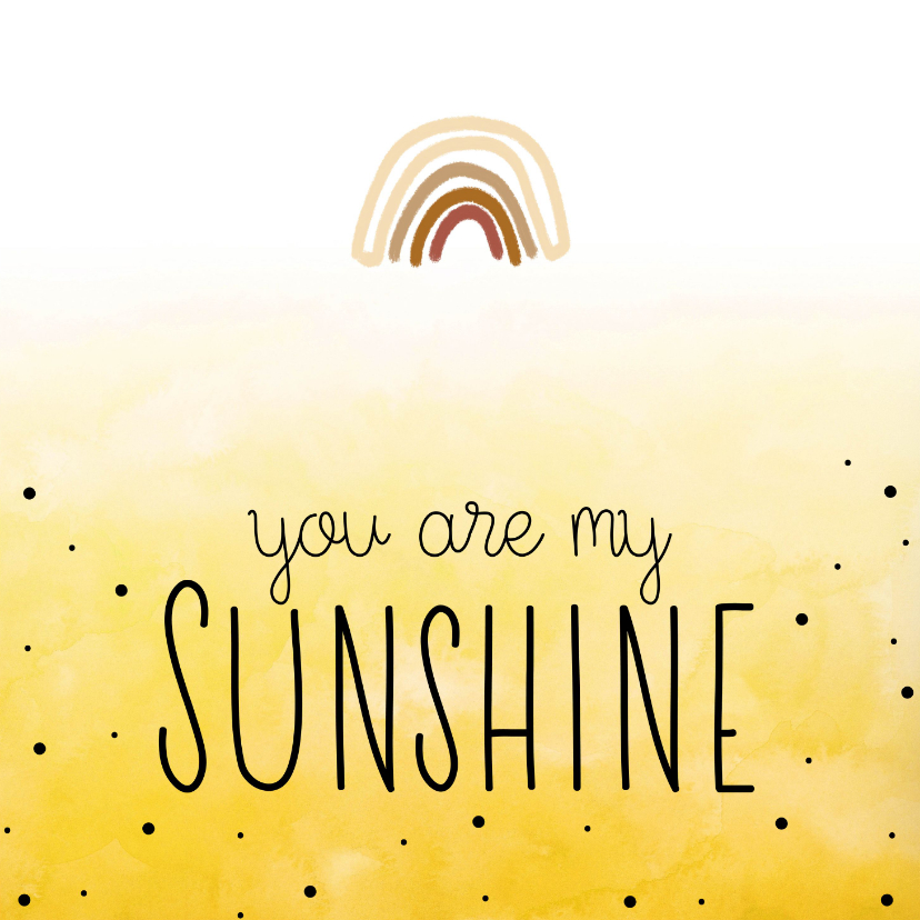 Bedankkaartjes - You are my sunshine , regenboog
