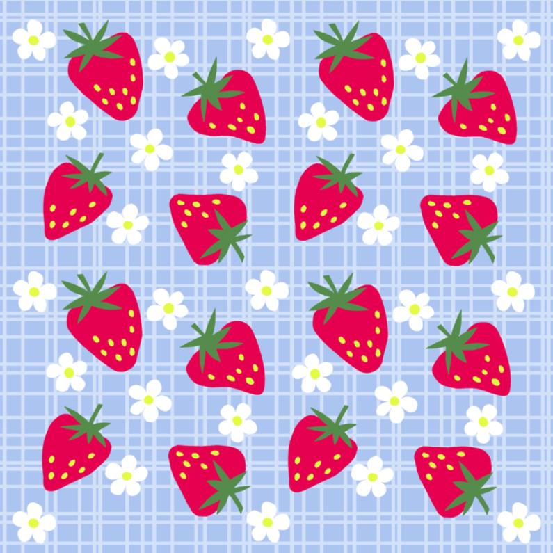 Beterschapskaarten - Aardbeien op een blauw ruitje