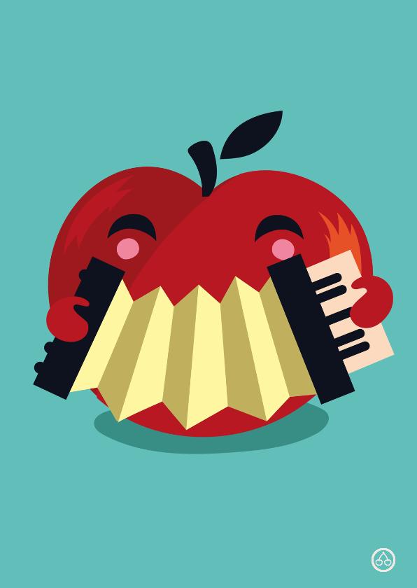 Beterschapskaarten - beterschap appel, accordeon, NK