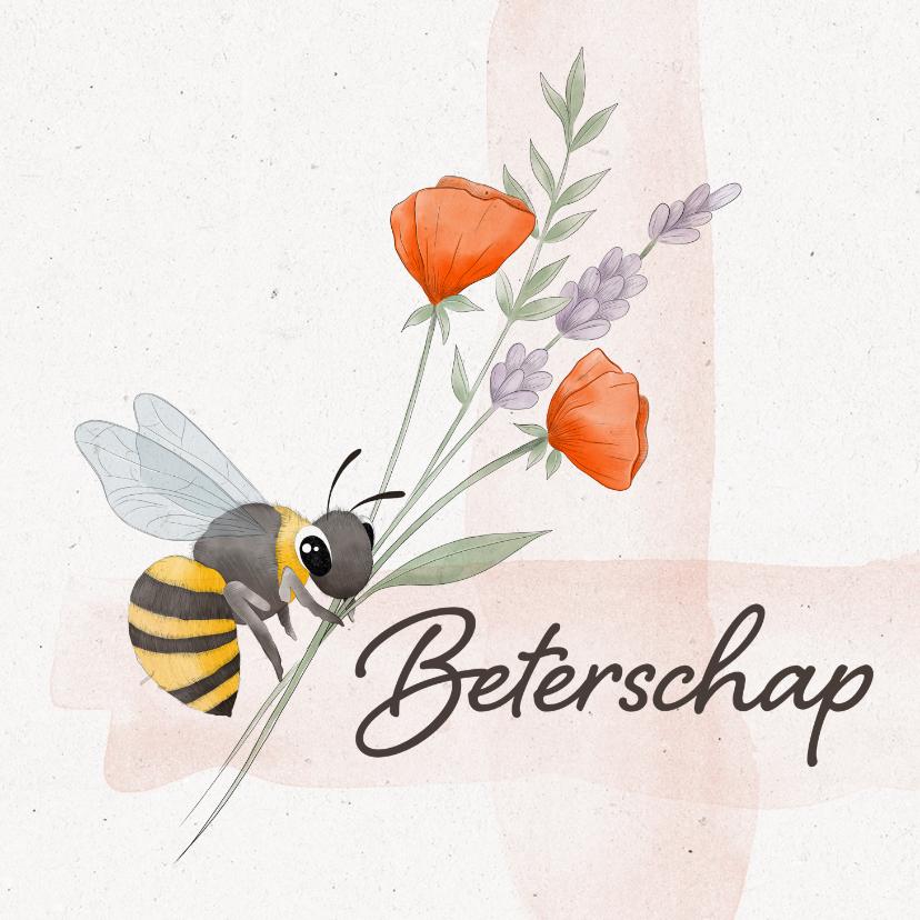 Beterschapskaarten - Beterschap - bij met bloemen