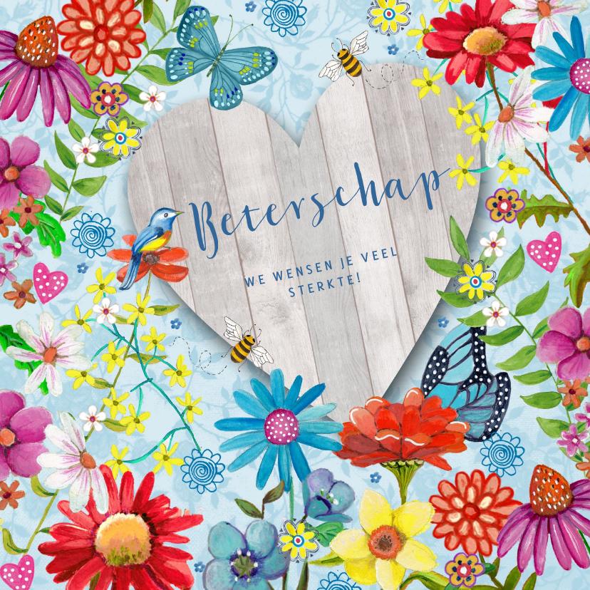 Beterschapskaarten - Beterschap Bloemen Hout hart vlinders