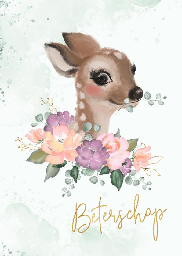 Beterschapskaarten - Beterschap hertje met bloemen