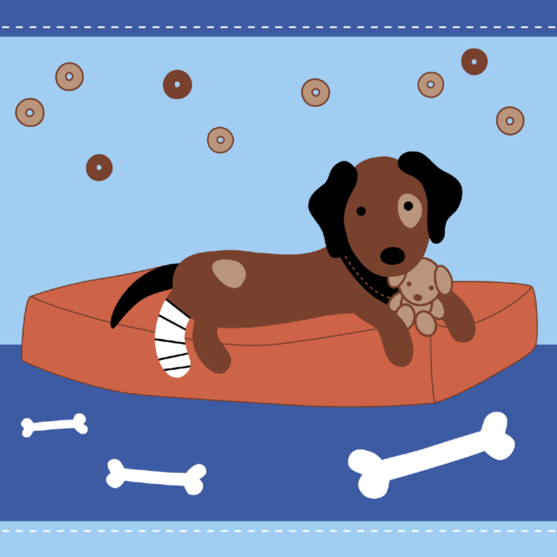 Beterschapskaarten - Beterschap-Hond is Ziek-HK