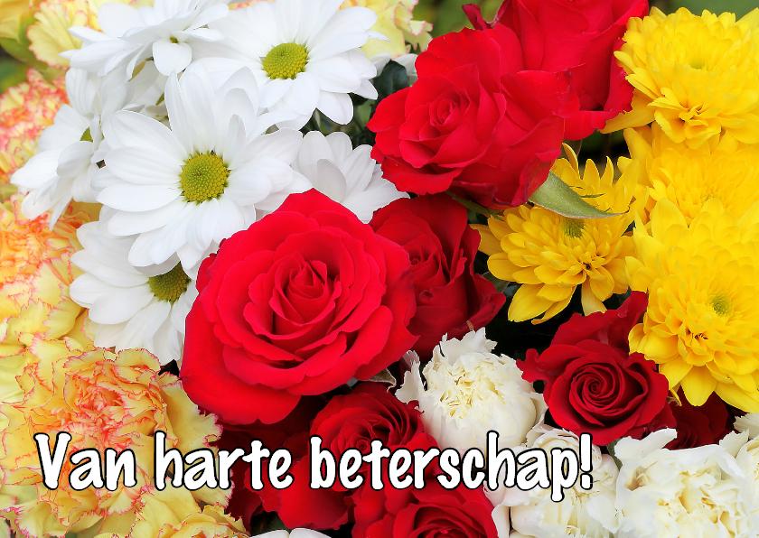 Beterschapskaarten - Beterschap, kleurrijke bloemen