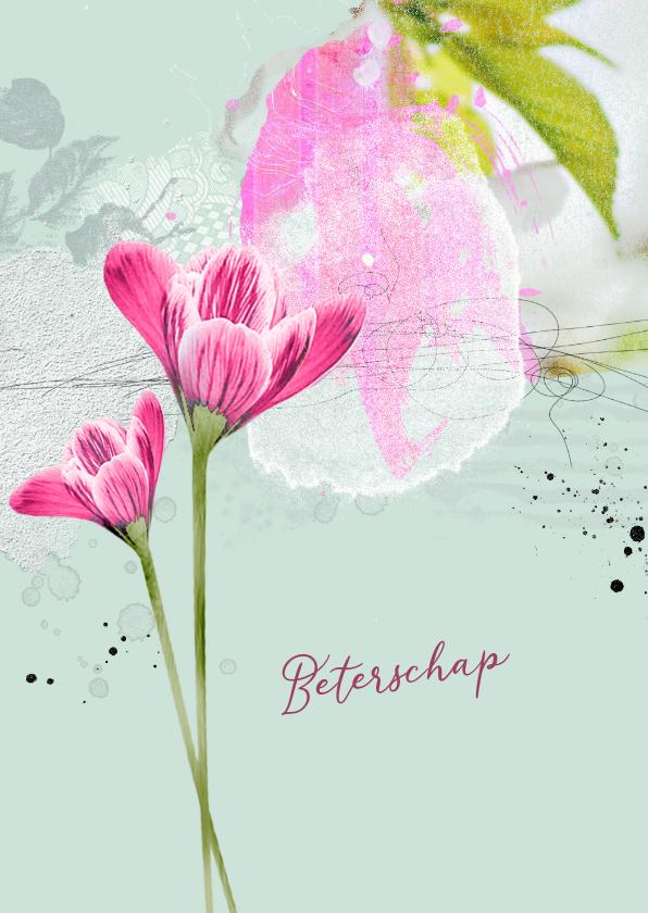 Beterschapskaarten - Beterschap krokus roze