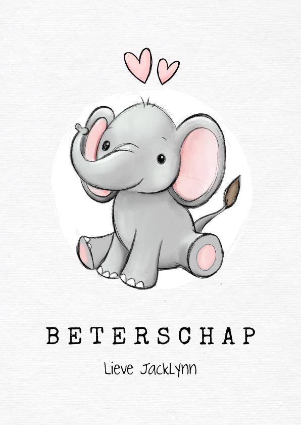 Beterschapskaarten - Beterschap lief olifantje hartjes meisje