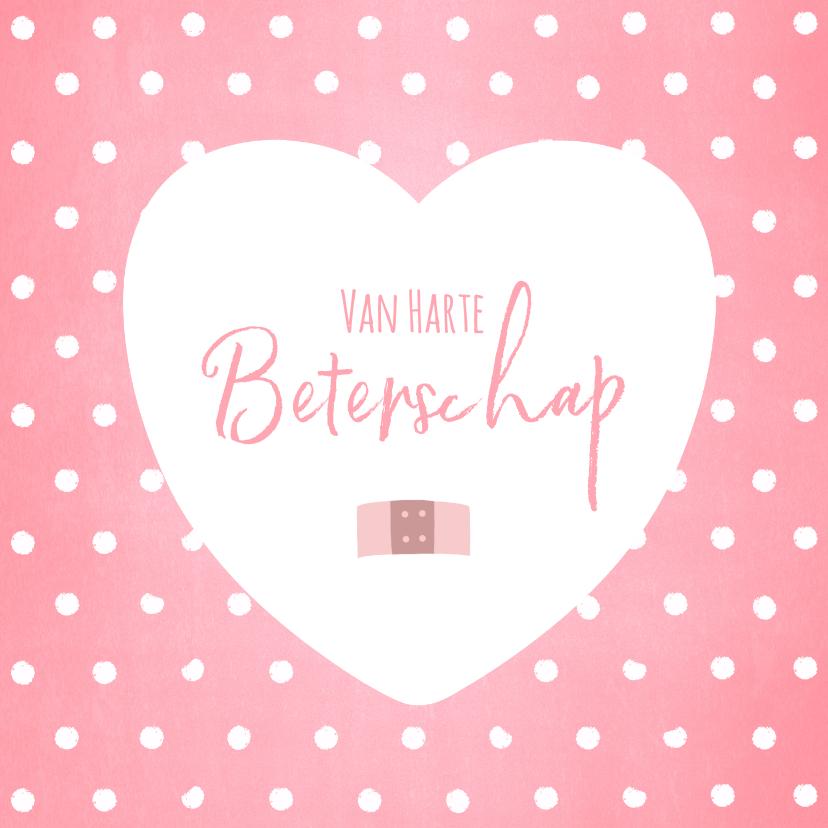 Beterschapskaarten - Beterschap lief roze kaartje stippen hartje en pleister
