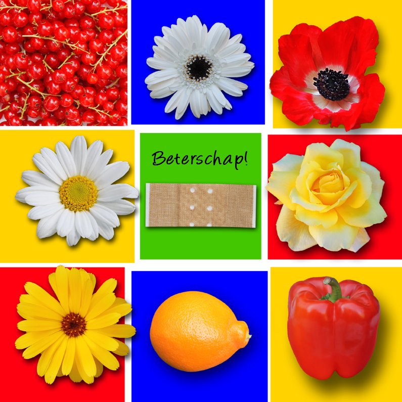 Beterschapskaarten - Beterschap, met bloemen en fruit