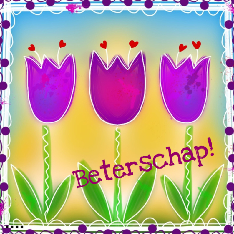 Beterschapskaarten - Beterschap paarse tulpen en rode hartjes