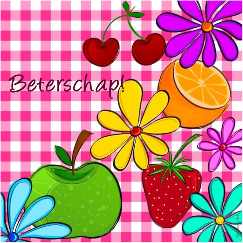 Beterschapskaarten - Beterschap ruitjes fruit en bloemen