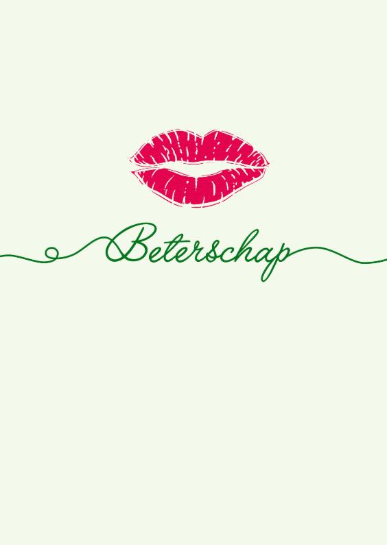 Beterschapskaarten - Beterschap sierlijke tekst met kus