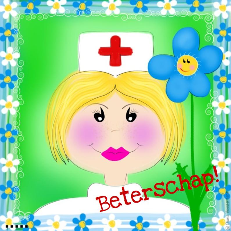 Beterschapskaarten - Beterschap verpleegster en bloemetjes