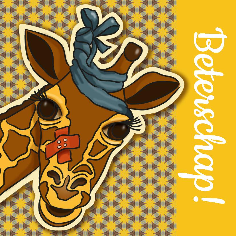 Beterschapskaarten - Beterschap - zieke giraf