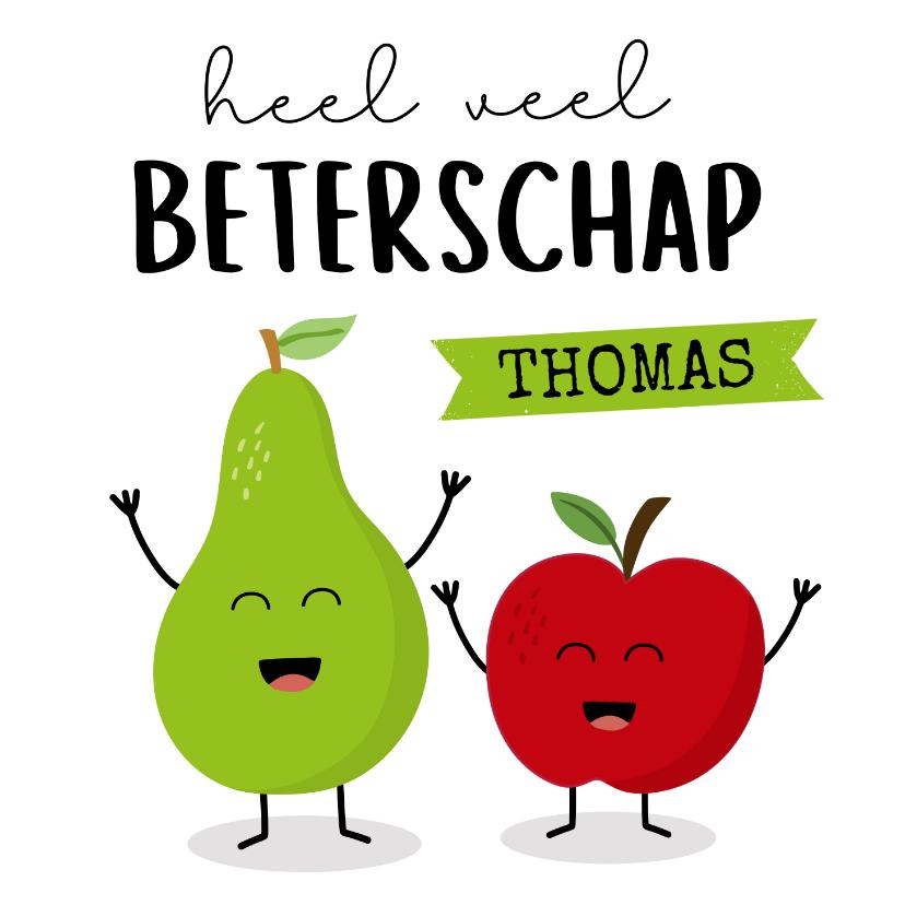 Beterschapskaarten - Beterschapkaart met appel en peer