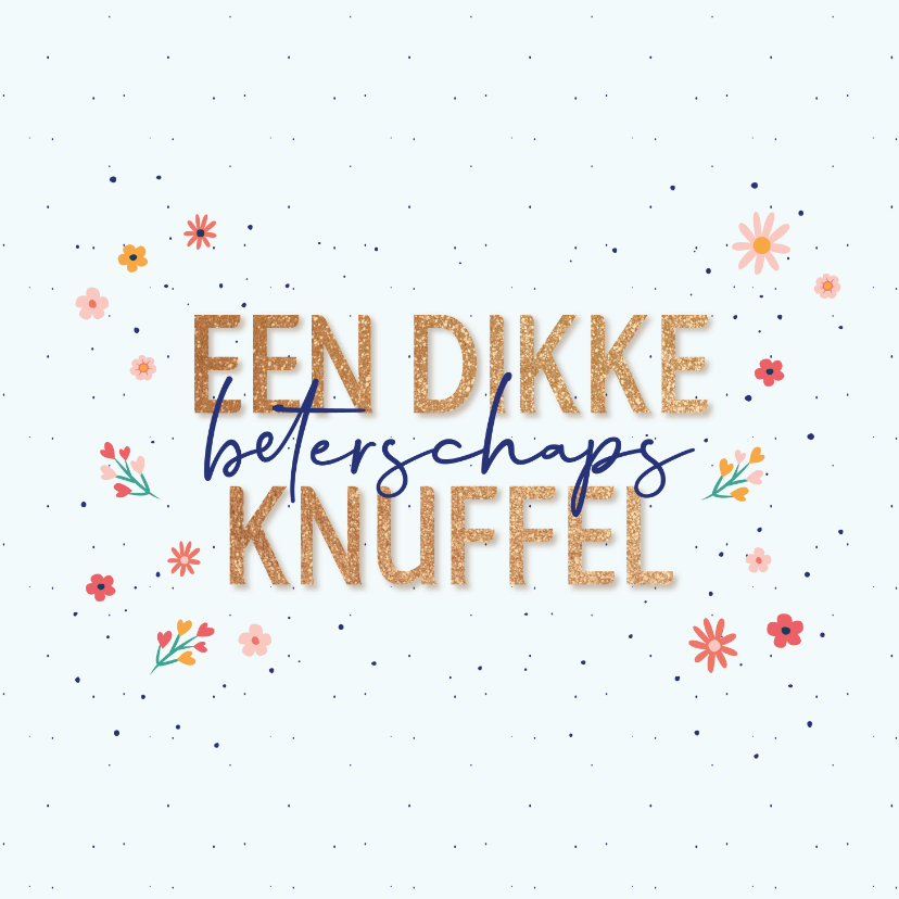 Beterschapskaarten - Beterschaps knuffel - dots and flowers - beterschapskaart