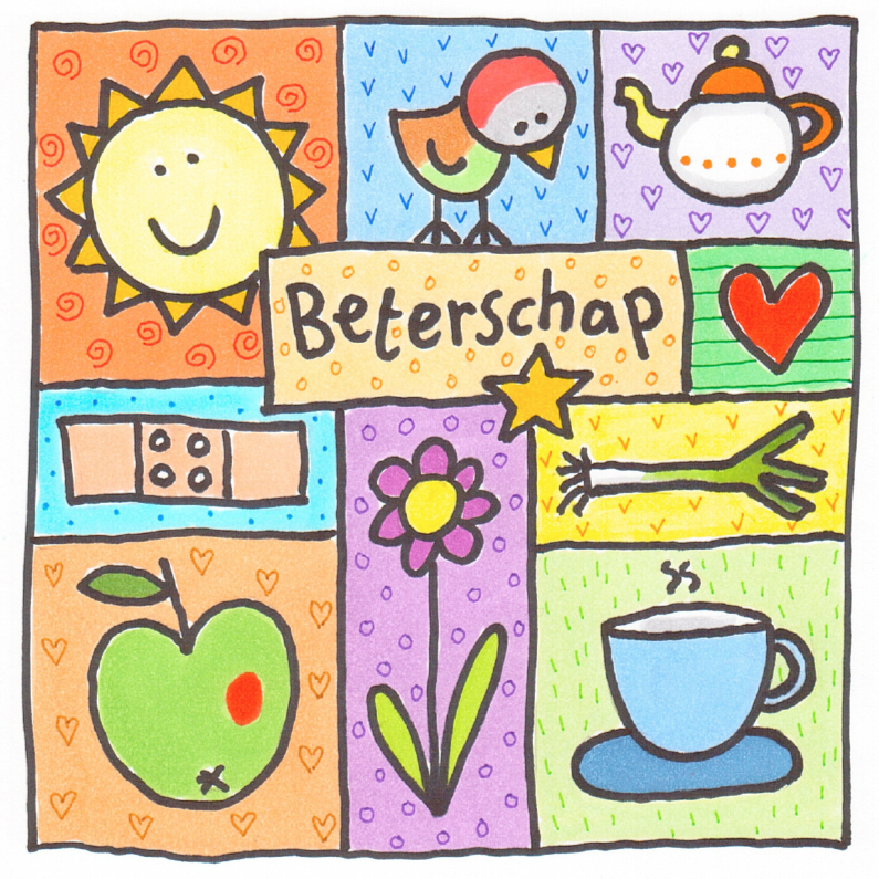 Beterschapskaarten - Beterschapskaart 10 illustraties