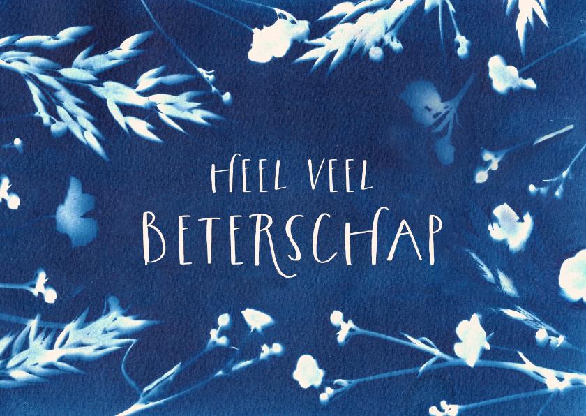 Beterschapskaarten - Beterschapskaart bloemen cyanotype