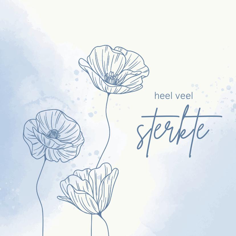 Beterschapskaarten - Beterschapskaart - Bloemen met vlinder in blauw